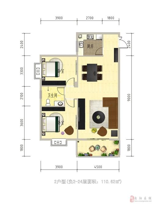 1#楼2户型负2-24层面积110.82平方米
