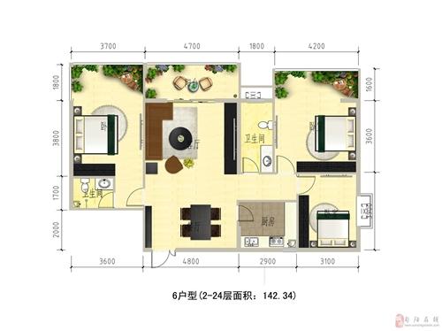1#楼6户型2-24层面积142.34�O