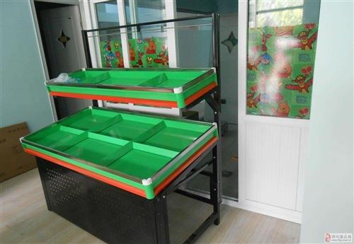 出售二手超市蔬菜货架、冷鲜展示柜、绞肉机、冰柜、木
