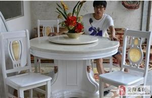 5千多的大理石二层1.5米圆桌转让(含6把凳子)
