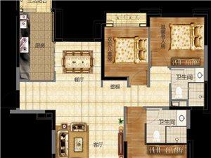 三室两厅两卫  建筑面积:128.61平米