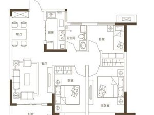 G5户型3室2厅1卫1厨  约99.07平米