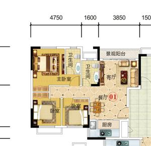 家和西岸悦湾98.83平方小3房售54万