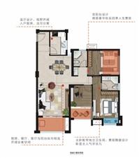 D2户型约108m2三房两厅两卫两阳台