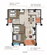 B户型约116m2三房两厅一卫一阳台