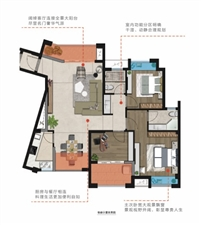 D1户型约109m2三房两厅两阳台