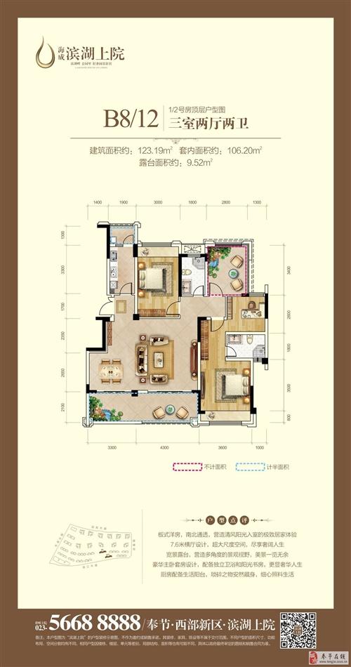 B8/12栋1/2号房顶层户型图