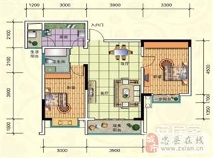 D-1/8号房, 2室2厅1卫, 建筑面积约84.83平米