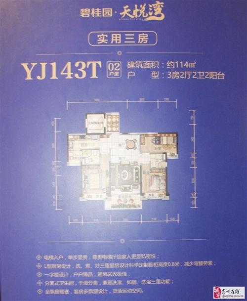 YJ143T02户型三房两厅两卫两阳台