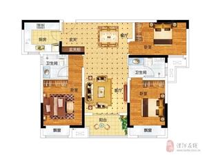 建业桂园 B1户型,3室2厅2卫,115平米(建筑)