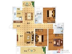 建业桂园 C户型,3室2厅2卫,135平米(建筑)