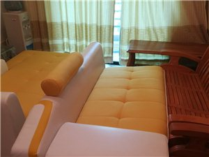 出售九成新布艺皮质沙发