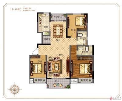 B户型:三室两厅两卫