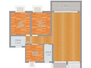 汇景新城123平3室2厅2卫160万
