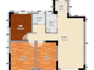 利华・中央公馆温馨三室简单装修楼层好户型好采光佳