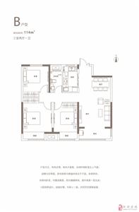 高层户型图(3室2厅1卫114m2)