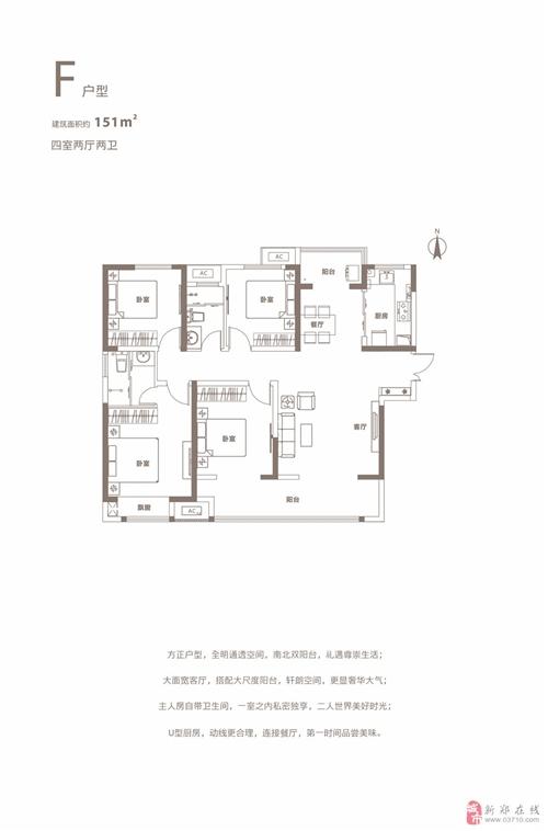 高层户型图(4室2厅2卫151m2)