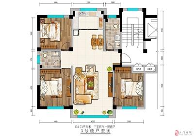 134平米三室两厅两卫