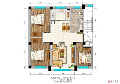 91平米三室两厅