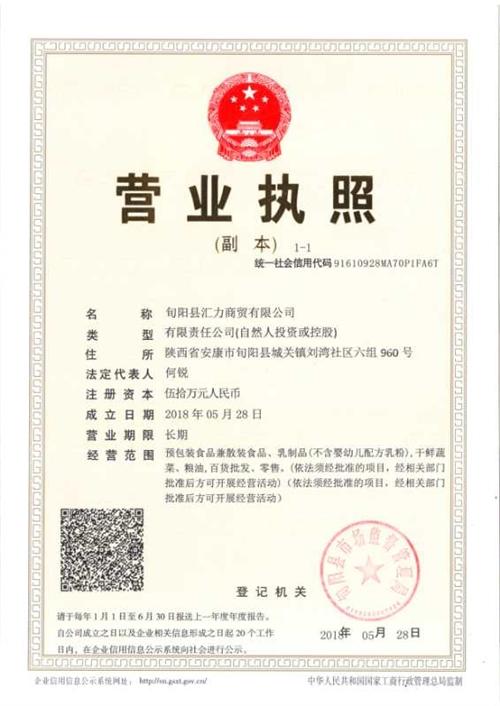 旬阳县汇力商贸有限公司