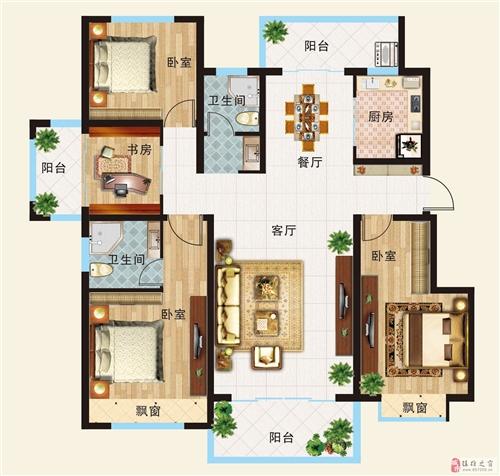 A户型  三室两厅一厨两卫一书房128.04平米