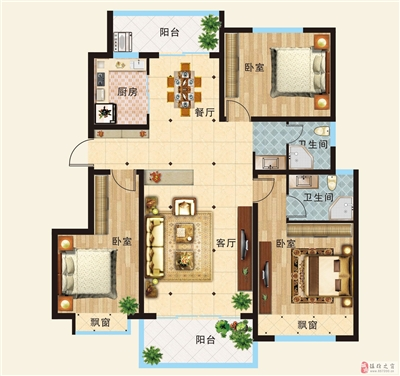 B户型  三室两厅一厨两卫 约118.74平米