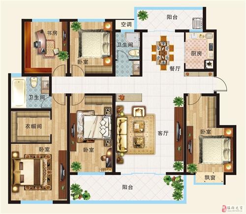 D户型  五室两厅一厨两卫 月172.3平米