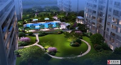 泳池花园景观效果图