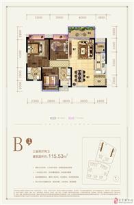B1户型 三室两厅两卫 115.53�O