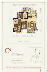 C1户型 三室两厅两卫 107.38�O
