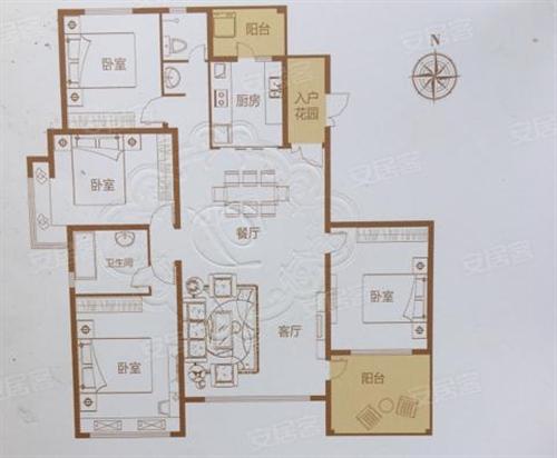 4室2厅2卫1厨, 约180.00㎡