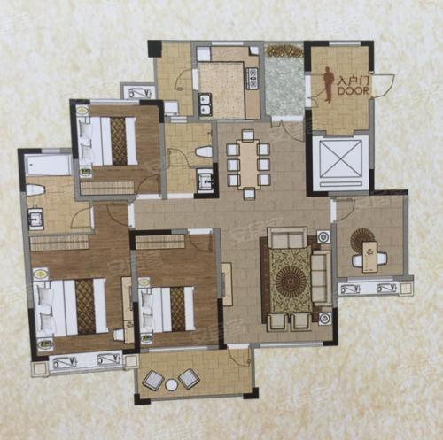 4室2厅2卫1厨,约142.00㎡