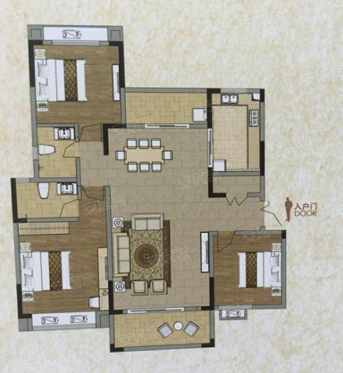 3室2厅2卫1厨,约127.00㎡