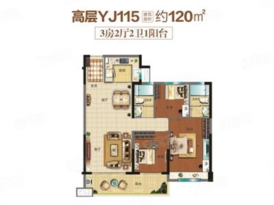 3室2厅2卫1厨,约120.00�O
