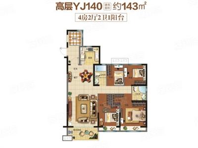 4室2厅2卫1厨,约143.00�O