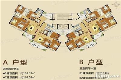4室2厅2卫1厨,建筑面积:163.37�O