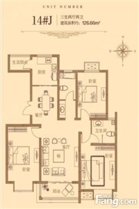 3室2厅2卫1厨,建筑面积:126.00�O