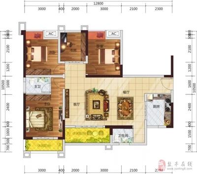 3室2厅1书房2卫2阳台