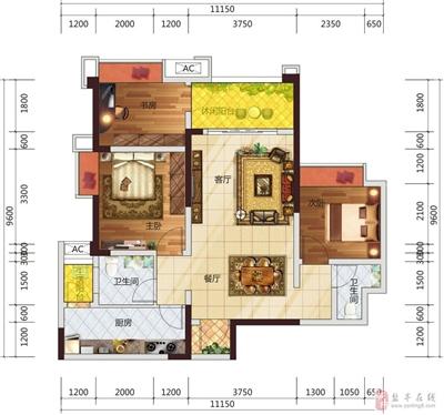 2室2厅1书房2卫2阳台