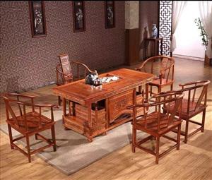 半价处理9.5新实木茶桌1800元,六人办公桌带椅