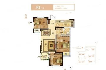 3室2厅1卫 88平米