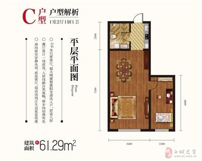 C户型-1室2厅1厨1卫