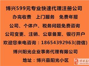 博兴599代理注册公司  专业代理企业年报填写!