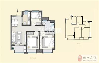 建发央誉90�O三室两厅一卫户型
