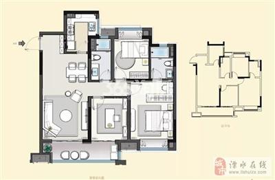 建发央誉105�O三室两厅两卫户型