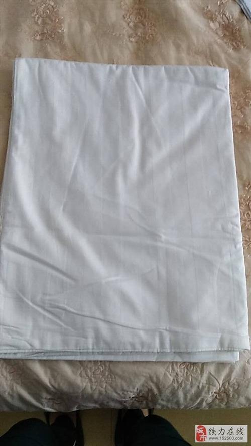 便宜出售宾馆用全棉白色缎条单双人床罩