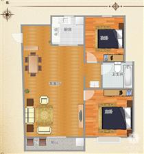 急售!万景官邸毛坯两室户型好采光好楼层合适