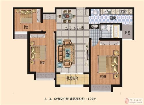 2户型2、3、6号楼盘 129平方米