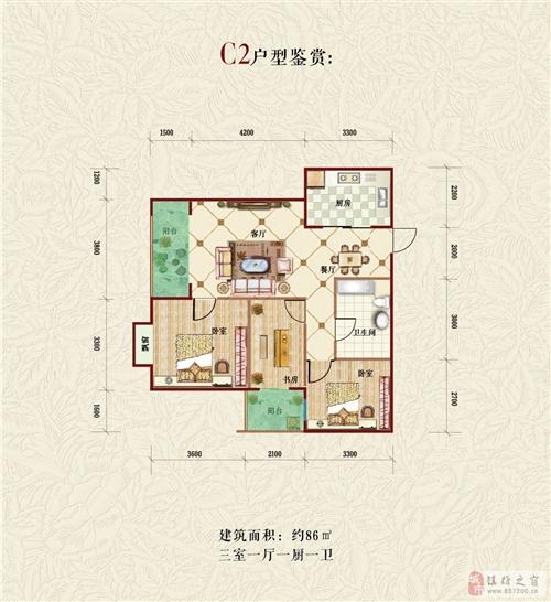 C2户型 三室一厅一厨一卫86平米