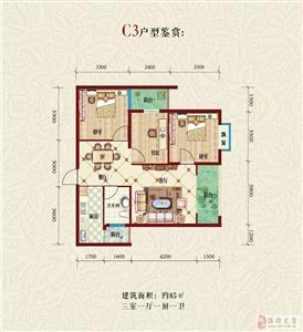 C3户型 三室一厅一厨两卫85平米